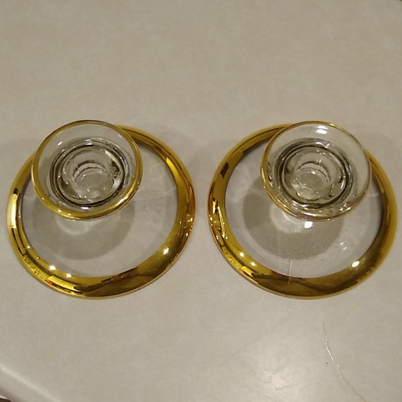 VINTAGE Gold Trim Glass Candle Holders